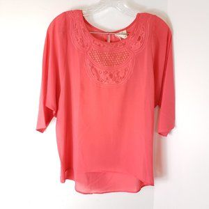 Pins Needles coral Sheer lace dolman sleeve Shirt